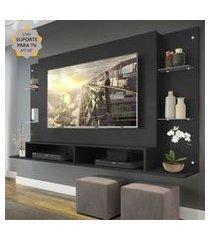 """painel com suporte para tv até 60"""" nairóbi multimóveis preto"""