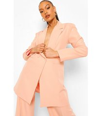 oversized long line blazer, peach
