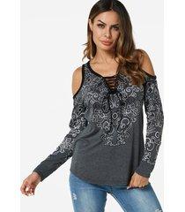 grey lace-up design random floral print cold shoulder t-shirts