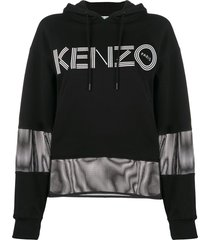 kenzo mesh-panel logo hoodie - black