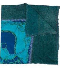avant toi frayed edge scarf - blue