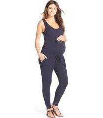 women's loyal hana marni maternity/nursing romper, size large - blue