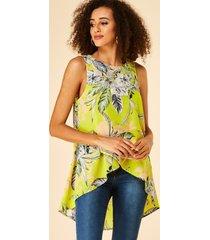 yoins lime floral print round cuello blusa sin mangas