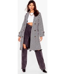 womens finally houndstooth you belted longline coat - black