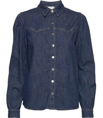 larina denim shirt långärmad skjorta blå minus