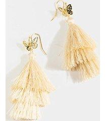 marley butterfly tiered tassel earrings - ivory
