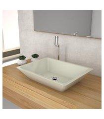 cuba de apoio para banheiro compace messina rt45w retangular bege