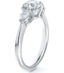 de beers forevermark accents(tm) diamond engagement ring with pear sides, size 6.5 in platinum-d0.70ct at nordstrom