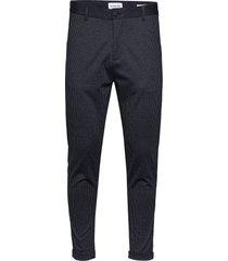 cropped pant - knitted checked casual broek vrijetijdsbroek blauw lindbergh