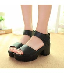 sandalias zapatos plataforma tacón alto cuero moda -negro