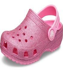 crocs classic glitter clog rosa - kanui