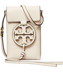 tory burch miller leather phone crossbody bag - ivory