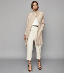 reiss maya - wool blend mid length coat in stone, womens, size 12