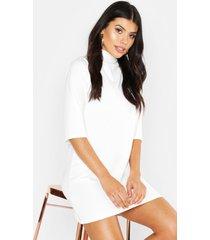 high neck 3/4 sleeve shift dress, ivory