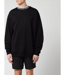 acne studios men's logo crewneck sweatshirt - black - s