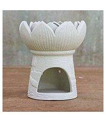 ceramic oil warmer, 'fragrant lotus in white' (thailand)