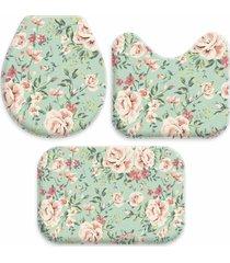 jogo tapetes love decor para banheiro flowers verde mar único