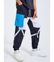 hombre street style cintas con bloques de color diseño bolsillo con solapa carga pantalones