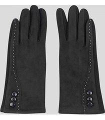 guantes touch gamuza botones negro baziani