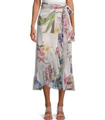 ganni women's floral wrap skirt - bright white - size 38 (6)