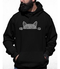men's peeking cat word art hooded sweatshirt