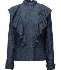 cyndie blouse so18 blouse lange mouwen blauw gestuz
