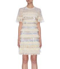 'ariana' pleated contrast panel sequin mini dress