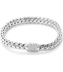 diamond silver woven chain bracelet