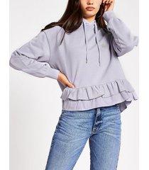 river island womens purple rvr frill hem hoodie