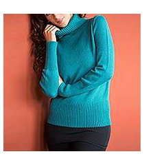alpaca blend sweater, 'teal temptress' (peru)