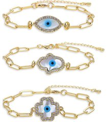 eye candy la women's luxe 3-piece goldtone titanium, crystal & faux pearl bracelet set