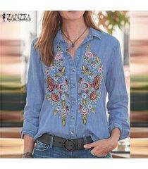 zanzea mujeres botones abajo larga camiseta tops casual turn down cuello blusa suelta -azul claro