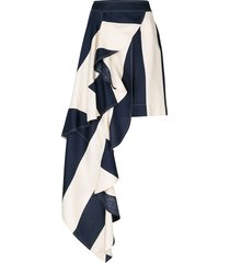 asymmetric blocked stripe skirt