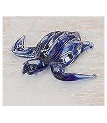 art glass figurine, 'marine turtle in blue' (costa rica)