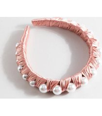 simone satin pearl lined headband in pink - mauve