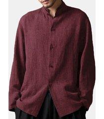 camicia sciolta collo a listino di stile cinese