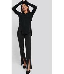 na-kd front slit zipper jersey skinny trousers - black