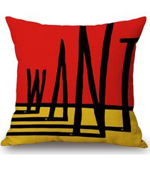 geometry letter pattern sofa decorative pillow case