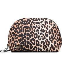 ganni leopard print pouch bag - black