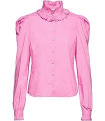 blanca blus långärmad rosa custommade