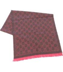 gucci gg wool scarf brown sz: