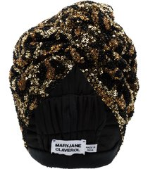 maryjane claverol la tigresa beaded sequin turban - black