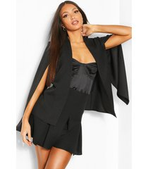 tall woven cape blazer, black