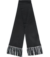 saint laurent studded silk scarf - black