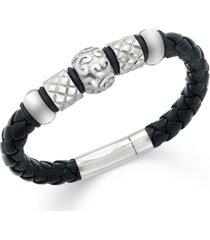men's stainless steel bracelet, bead and braided black leather bracelet