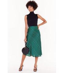 womens spot-light worth bias cut midi skirt - emerald