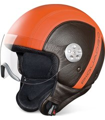 piquadro designer small leather goods, open face two-tone leather helmet w/visor
