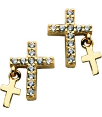 cross studs w/cross charms earrings in fine silver plate