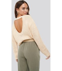 na-kd open back knitted sweater - beige