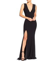 women's dress the population sandra plunge crepe trumpet gown, size xx-small - black